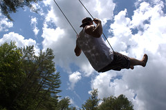 Boosting on the Swing (JeremyHudson 802) Tags: sky clouds pond vermont sharon wideangle swing vt