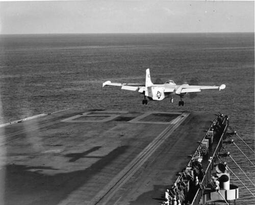 North American AJ-2 Savage leaves the flight deck of the USS Saratoga (CVA-60)