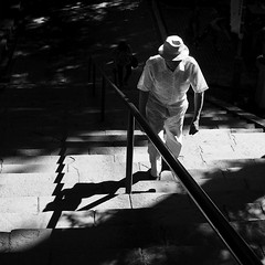 pilgrimage (StephenCairns) Tags: street shadow blackandwhite bw man stairs contrast steel prayer pray streetphotography highcontrast  pilgrimage pilgrim   elderlyman harshlight stonestairs  30mmsigmaf14 canon50d templestairs kegonji    junrei