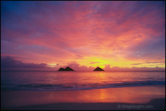 8321-0178 Mokulua Islands Kailua Oahu (Greg Vaughn) Tags: ocean travel beach nature horizontal sunrise landscape outdoors hawaii islands coast colorful pacific wildlife scenic nobody hawaiian beaches tropical volcanic brilliant tropics preserves kailua lanikai mokuluaislands birdrefuges windwardoahu gregvaughn 83210178