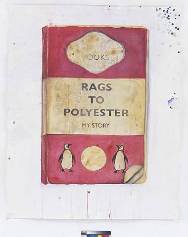 Harland Miller, Rags to Polyester - My Story, 2008, Watercolor on paper