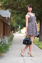 [フリー画像素材] 人物, 女性, ワンピース・ドレス, アメリカ人, 鞄・バッグ ID:201111072000