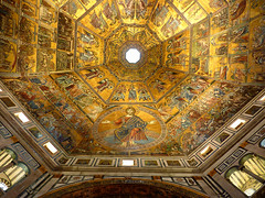 Florence Cathedral Baptistery (It's Michael) Tags: city roof people italy vatican rome detail art beautiful museum gold golden florence colorful long exposure room maps low crowd paintings perspective statues chapel iso vault lots baptistry rushing sixtine thegoldenphoenix