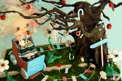 Little Alice in CandyLand (♥PAM♥dolls♥) Tags: art wagon eyes alicia handmade alice ooak mohair sweets blythe rement wonderland diorama candyland littlealice lachicadellunar pamdolls littlealiceincandyland inspiratedinmarkrydens