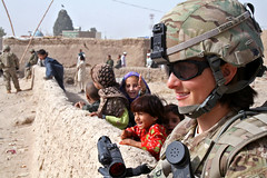 Village visit (The U.S. Army) Tags: afghanistan children soldier security militarypolice soldiers af patrol kandahar mps aup warhorse 4thinfantrydivision 2ndbrigadecombatteam afghanuniformedpolice