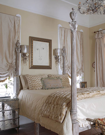 French + feminine in New Orleans bedroom: Benjamin Moore 'Pittsfield Buff'