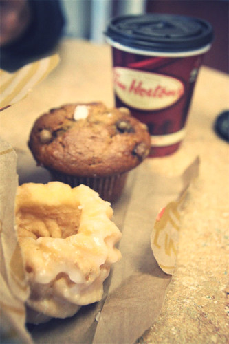 Honey cruller & pumpki nspice muffin