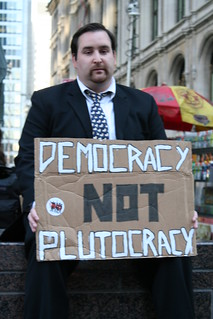 From flickr.com/photos/24150494@N03/6226519220/: Democracy Not Plutocracy--the radical common sense of the Pitchfork Movement