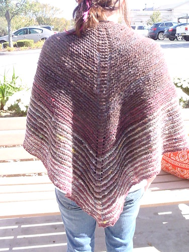 Modeled Danish Tie Shawl - back