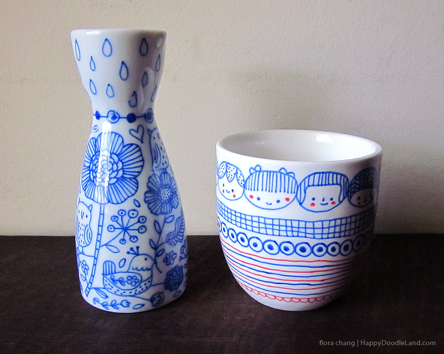 Sake Bottle + Tea Cup