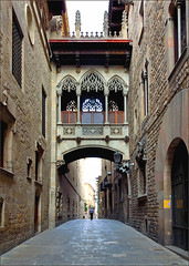 Passages (Martin Smith - taking a break) Tags: barcelona architecture spain nikon passages catalonia lane skywalk bishopstreet carrerdelbisbe d7000 tokina1116mmf28 pse9