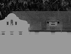 11231 / presidio barracks with missing parts (janeland) Tags: sanfrancisco bw detail architecture blackwhite shingles style nb eucalyptus barracks roofline presidio faade dormer ogee 94129 missionrevival fortwinfieldscott graphicized