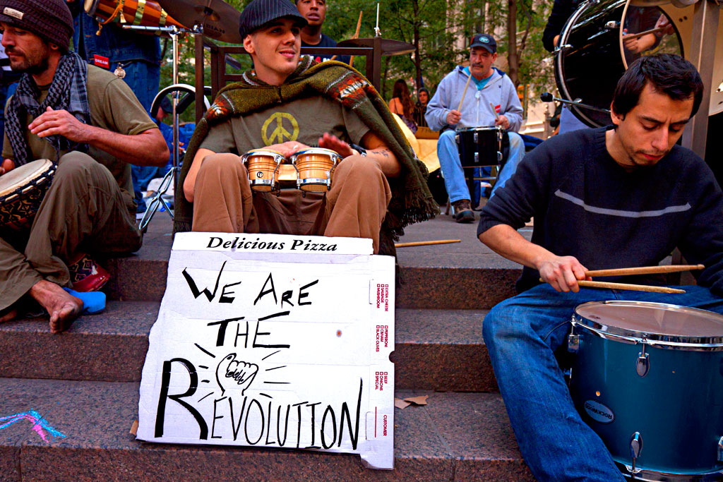 Drummers-with-WE-ARE-THE-REVOLUTION-sign--Manhattan