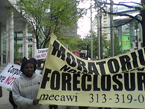 """Activists from """"Occupy Detroit"""" marching on Woodward Avenue through the financial district to Bank of America demanding a moratorium on foreclosures. Demonstrations have been held since October 14, 2011. (Photo: Abayomi Azikiwe) by Pan-African News Wire File Photos"""