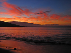 magical maui morning (bluewavechris) Tags: ocean morning sea sky mountain color reflection beach water clouds sunrise volcano hawaii sand scenic maui