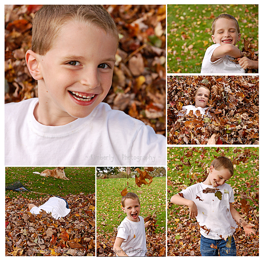 Alex in leaves collage