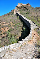 The Great Wall of China (Fisherss Zhang) Tags: china blue white mountain black mountains building brick tower history window grass rock stone wall forest asian outdoors ancient asia chinese beijing greatwall greatwallofchina mountainrange chineseculture jinshanling