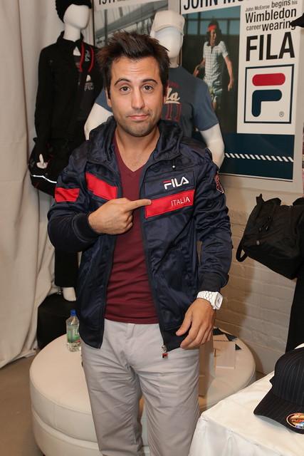 Daniel DeSanto tries on a Fila hoodie