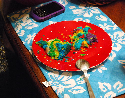Rainbow Cake Party Remnants