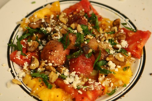 Heirloom Tomato, Baby Beets, Feta, Wallnuts, and Parsley with Olive Oil and Balsamic Glaze