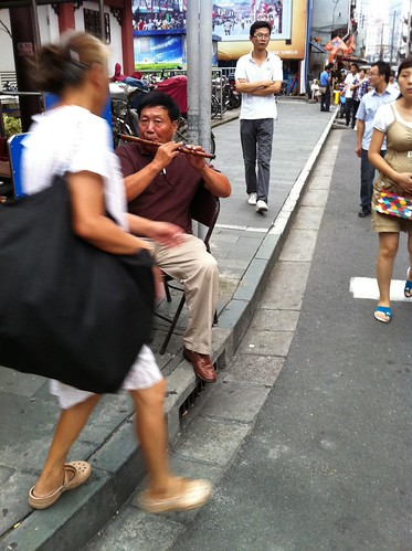 Flute player in Shanghai