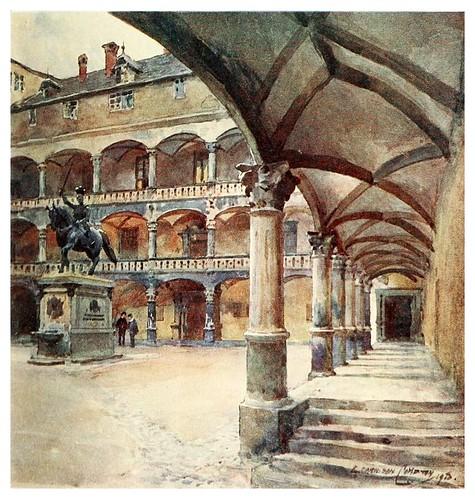 005- Patio de un antiguo palacio en Stuttgart-Germany-1912- Edward y Theodore Compton ilustradores