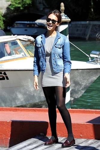 Jessica Alba wears denim jacket over dress