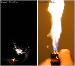 Lighter Diptych (Brandon Blackburn) Tags: light yellow night dark fire diptych hand purple quote dante flash jet brandon gas sparkle blackburn flame strike thumb lighter held bb spark flick hold fireball fuel ucsc scripto blackburnbrandon brandonblackburn