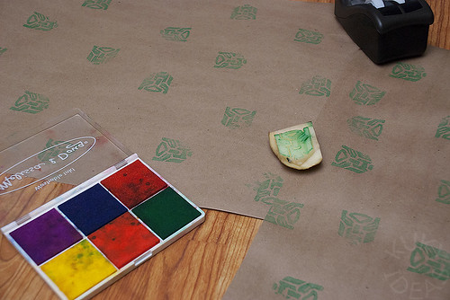Stamping paper with the transformer potato stamp
