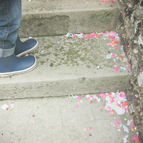 Confetti and Wellington Boots