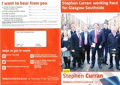 Labour Scottish Election Leaflet, 2011 (Scottish Political Archive) Tags: party scotland election glasgow scottish labour southside publicity campaign curran 2011
