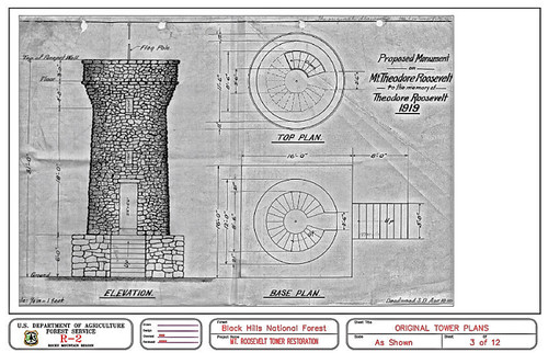 Seth Bullock's plans for the Mount Roosevelt monument