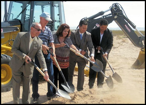 Participating in the Lower Valley Water District Groundbreaking Ceremony were (left to right) USDA Rural Development Texas State Director Paco Valentin, Lower Valley Water District Director Warren Jorgensen, Lower Valley Water District Director Gina Cordero, Lower Valley Water District General Manager David Carrasco, Commissioner Precinct 3 Willie Gandara, Jr.