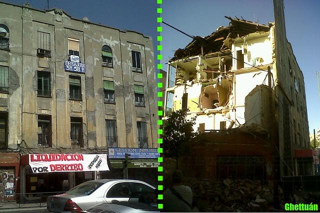 Antes y después del edificio del Hostal Niza