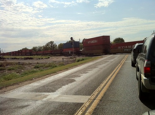 Train rolls through Perry, Oklahoma
