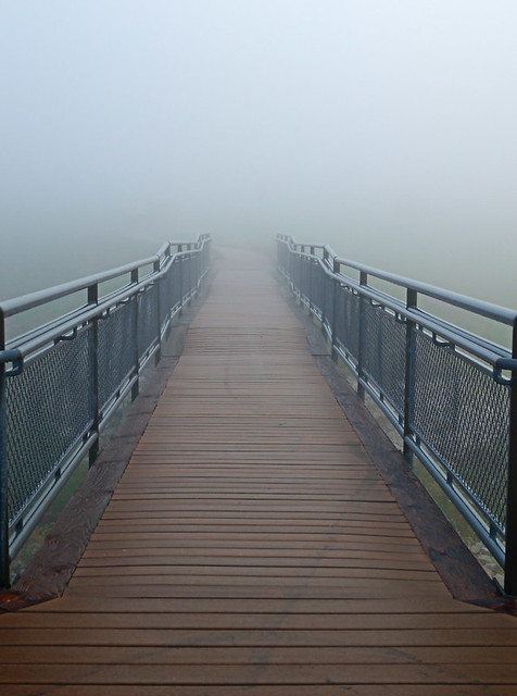Columbia Bottom Conservation Area, in Saint Louis County, Missouri, USA -  ramp in fog