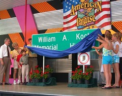 Unveiling the William A. Koch Memorial Highway sign