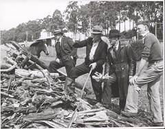 Four unidentified men discussing a large pile of wood, Drouin, Victoria