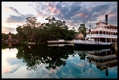 Sunset on the Rivers of America (Adam Hansen) Tags: sunset waltdisneyworld magickingdom magichour splashmountain libertybelle riversofamerica disneyhdr