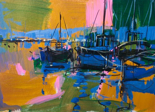Los Barcos en Azul    -Painting - Original