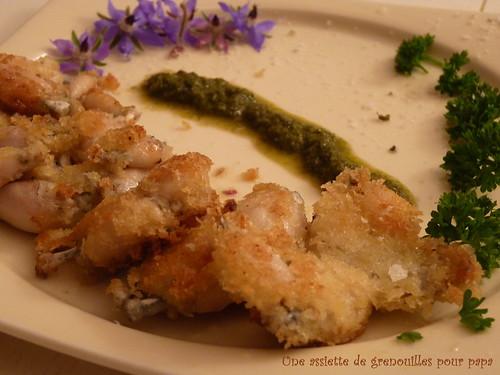 grenouilles panées sauce bourrache
