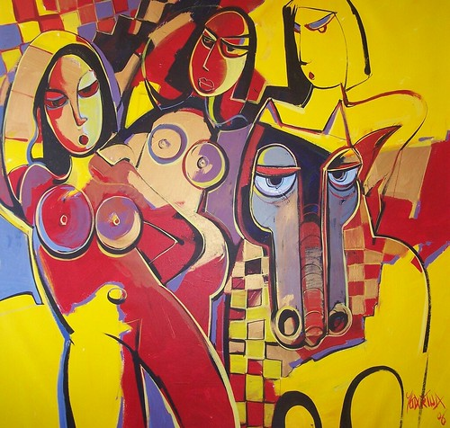Horse Women - Painting - Cubism