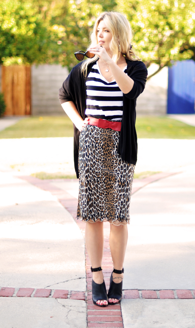 leopard skirt and striped top-cat eye sunglasses