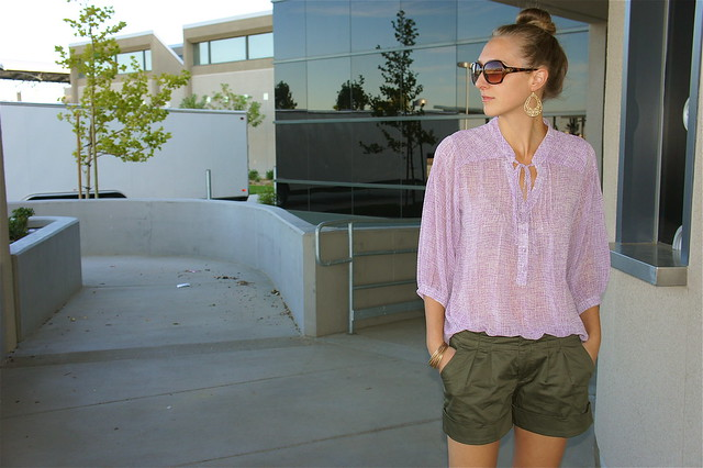 Lavendar blouse with olive shorts