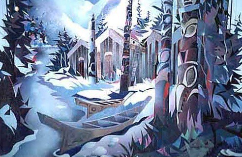 Totem Village   Painting - Original - Rev. Plexiglass