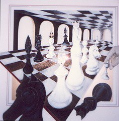 The Chess Game - Painting - Plexiglass