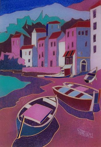 Basque Village - Painting Original Plexiglass