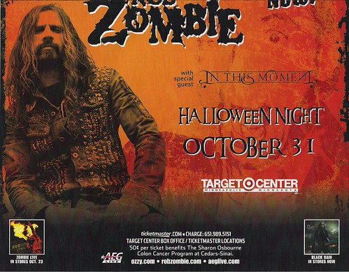 10-31-07 Ozzy Osbourne/Rob Zombie/In This Moment @ Target Center, Mpls, MN (Poster - Bottom)