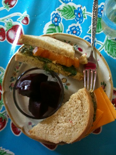 basil and tomato sandwich on wheat oat bread, pickled beets