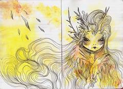 Metamorphosis J VIII (AliceSavage) Tags: flowers girls cute art design sweet drawing decorative manga craft artsy octopus emotional mermaid nouveau sketches surrealistic metamorphosis freelance artjournal